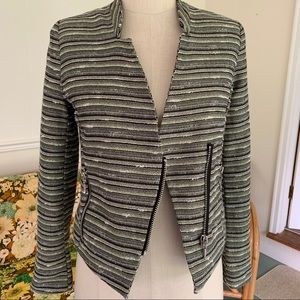 Mossimo metallic stripe bouclé moto jacket, sz 4